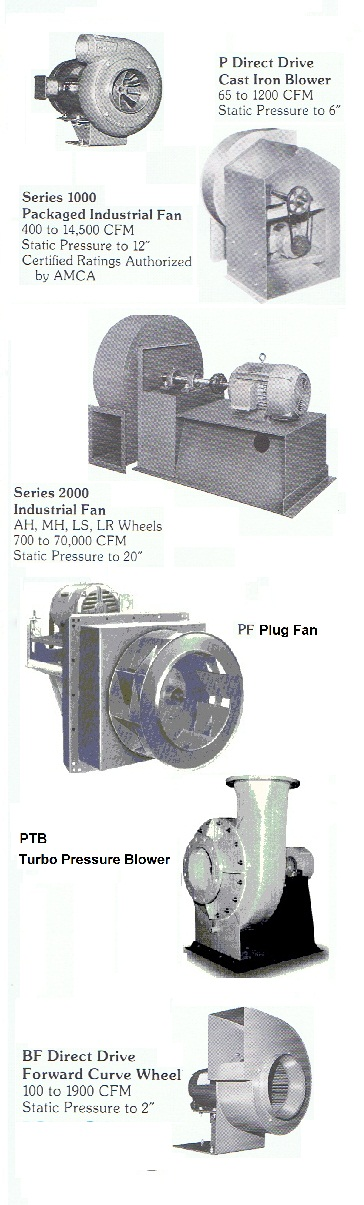 Supplier of regenerative blowers, positive displacement blowers, Acme fans, Delhi fans, fiberglass fans / FRP blowers, Plastec Propylene fan ventilators, American Coolair ILG ventilators & fans, Grainger ventilators, explosion proof blowers, power roof ventilators, replacement fan bldes / blower wheels.